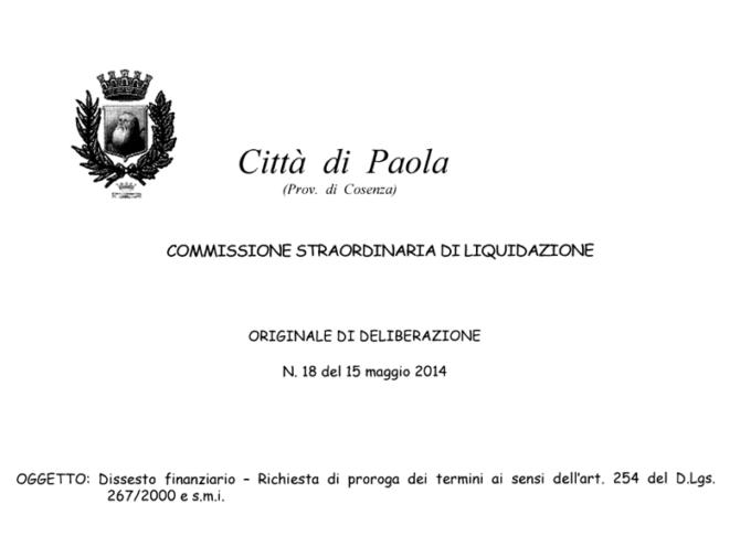 Dissesto Paola, 998.368,22 problemi