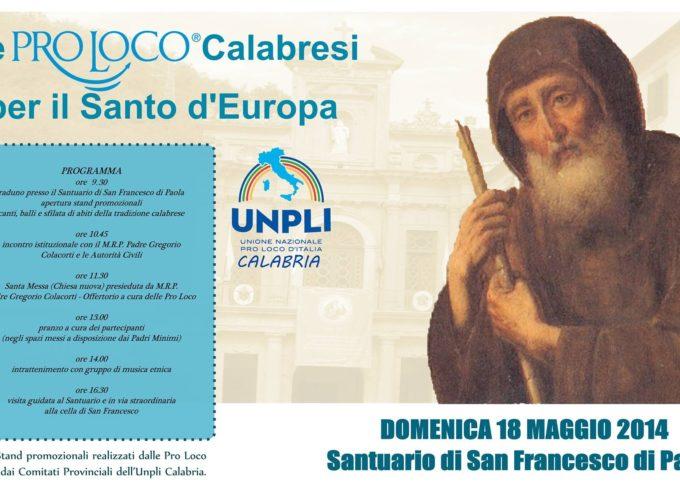 San Francesco di Paola, Santo d'Europa, celebrato dalle Pro Loco Calabresi