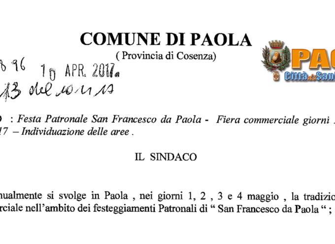 Paola – Il Sindaco rende note quali saranno le aree per Fiera del 4 Maggio