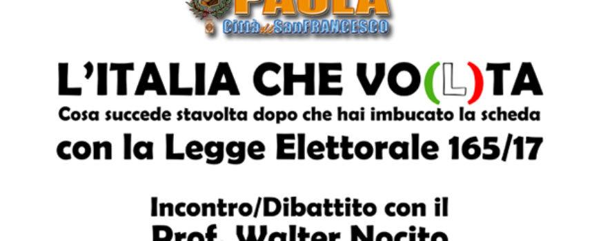 Paola – Alle 16.30 di oggi, in Comune, si parla di legge elettorale col Prof.
