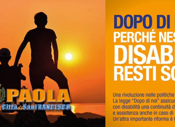 Paola – Via libera al Progetto per assistenza a disabili privi di aiuto familiare