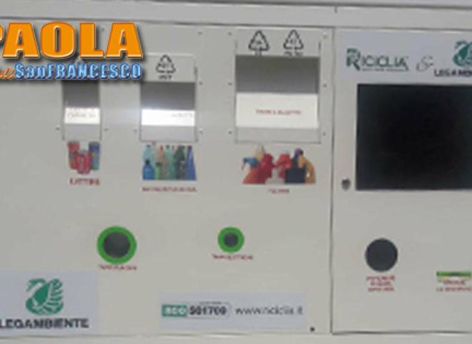"""Paola – Oggi s'avvia l'Eco-Compattatore che eroga """"buoni"""" in base al riciclo"""