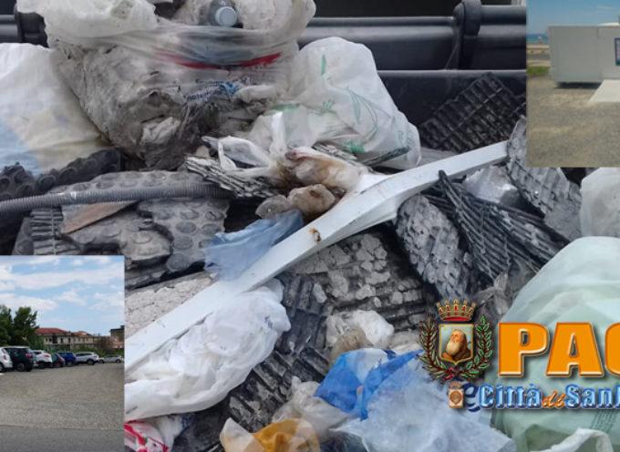 Paola – FOTO – Isole Ecologiche utilizzate come discarica: caccia agli incivili