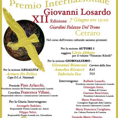 Cetraro, domani il Premio Internazionale Giovanni Losardo