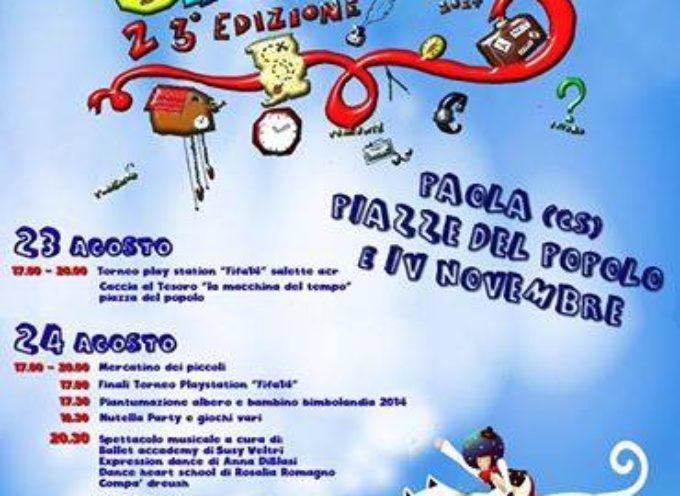 """Paola – Bimbolandia 2014: una benefica """"macchina del tempo"""""""