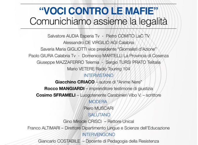 """Voci contro le mafie"" all'Unical"