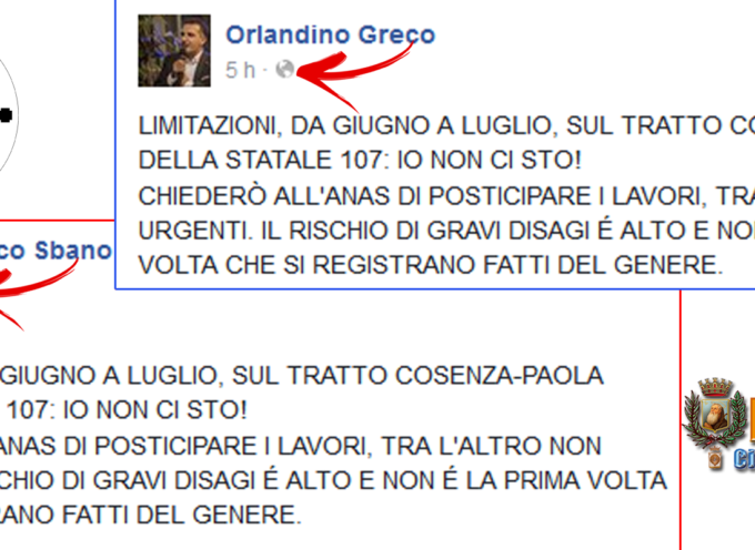 CLAMOROSO a Paola – Vicesindaco Sbano attinge da Orlandino Greco