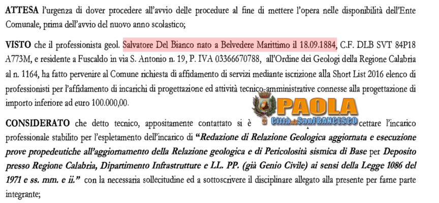Paola – Brindisi e Carriere: a Salvatore Del Bianco va l'ennesimo incarico