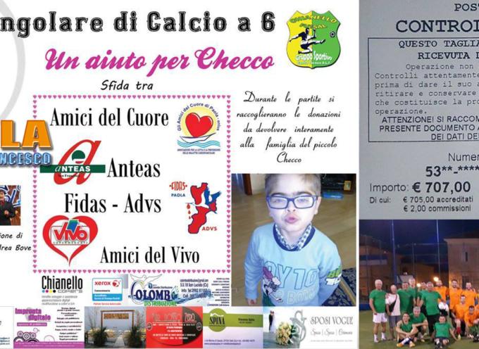 Paola – Prosegue la solidarietà per il piccolo Checco, raccolti più di 700€