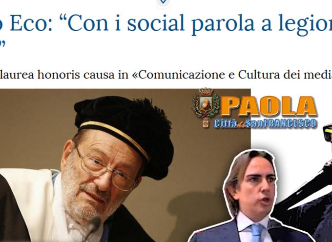 Paola: Il vicesindaco Sbano offende sul web, De Matteis replica citando Eco
