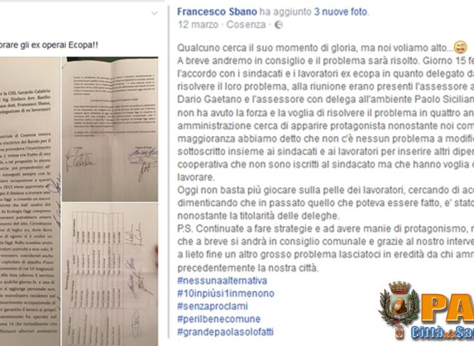 """Paola – Sbano annuncia un """"OK"""" per gli ex Ecopa, con  polemici """"distinguo"""""""