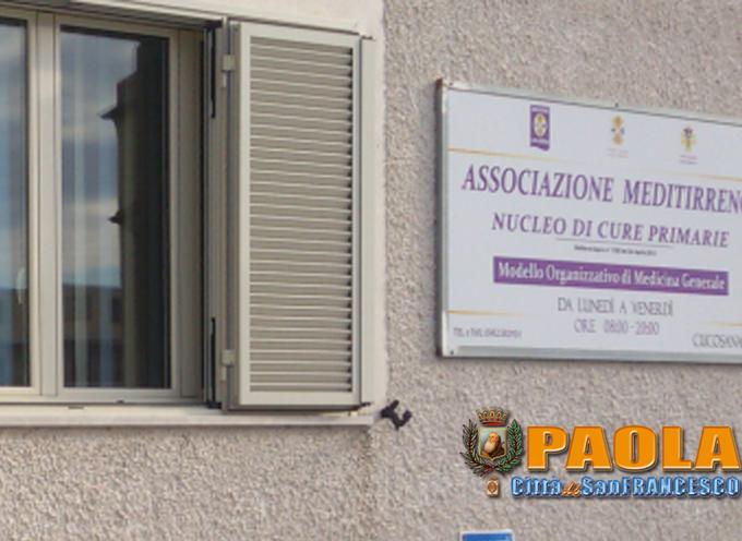 Paola – Da oggi sono sospese le attività del Nucleo di Cure Primarie (Ncp)
