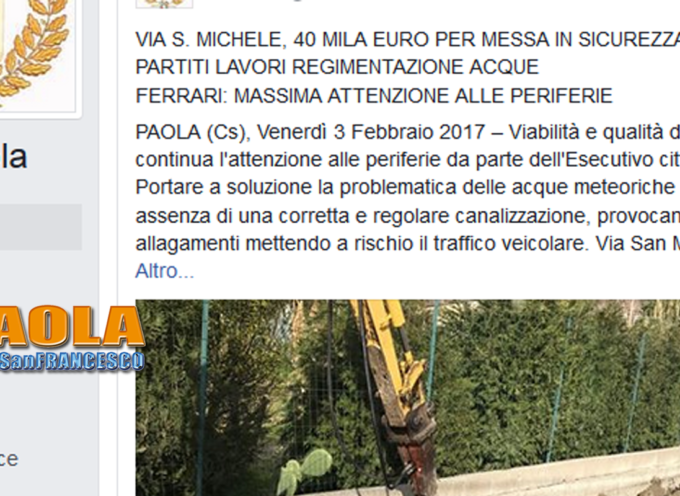 """Paola – Ferrari risparmia fiato: 40mila€ """"d'ordinanza"""" per interventi a Sotterra"""