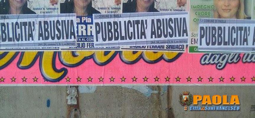 """Paola – AFFISSIONI ABUSIVE: i Vigili """"oscurano"""" tanti manifesti elettorali"""