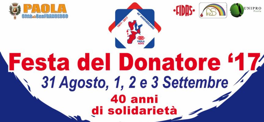 """Paola – Domani parte la """"Festa del Donatore"""", 4 giorni per 40 anni di attività"""