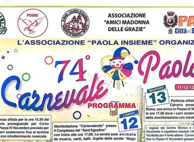 """Paola – Carnevale """"a norma di legge"""": nuovo Percorso Carri e Programma"""