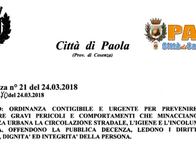 Paola – Ordinanza Anti Prostituzione: multe da 50 a 300 Euro (ecco il testo)