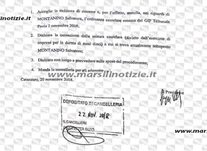 """Paola – Imprenditore Montanino torna alla normalità: stop misura """"Merlino"""""""