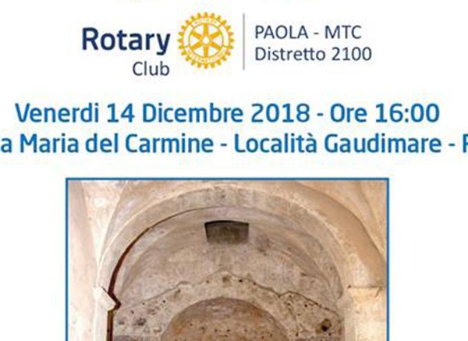 """Paola – Il Rotary Club """"spiega"""" l'intervento salvifico sulla Chiesa di Sotterra"""