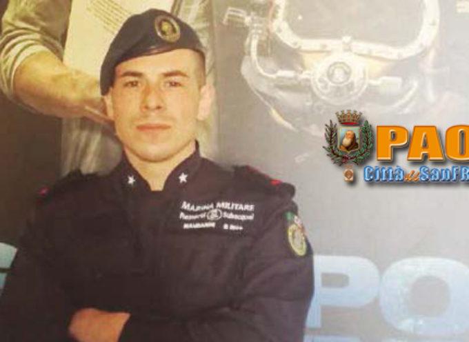 Paola – Il Sindaco Perrotta encomia il giovane militare Giuseppe Mandarini