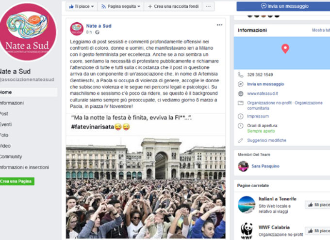 """Paola – Espressione """"infelice"""" sul web: polemica su membro associazione"""