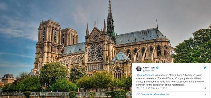 La Disney dona 5mln di $ per la ricostruzione di Notre Dame (di G. Cilento)
