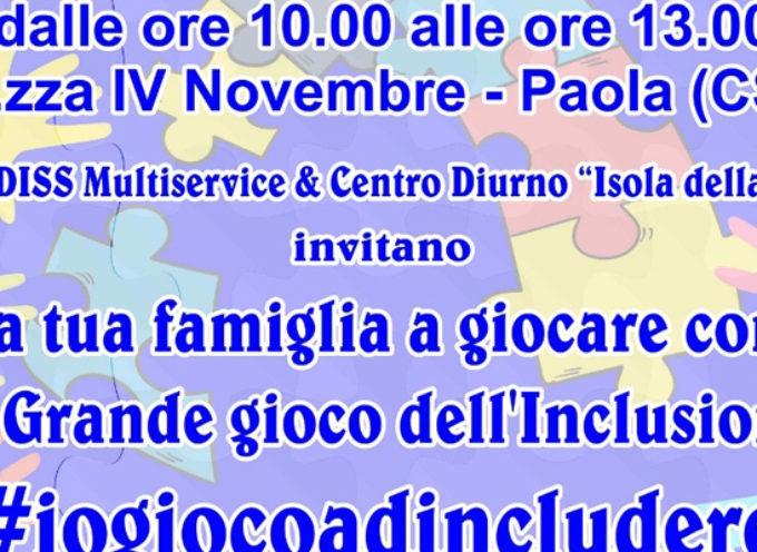 """Paola – Domani in Piazza il Grande Gioco per """"familiarizzare"""" con l'autismo"""