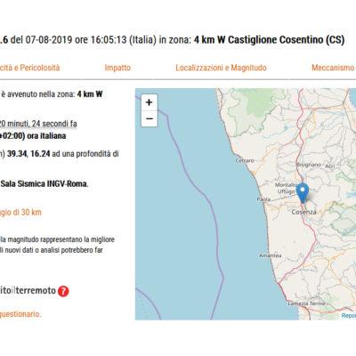 Scosse di terremoto scuotono l'hinterland cosentino, avvertito pure a Paola