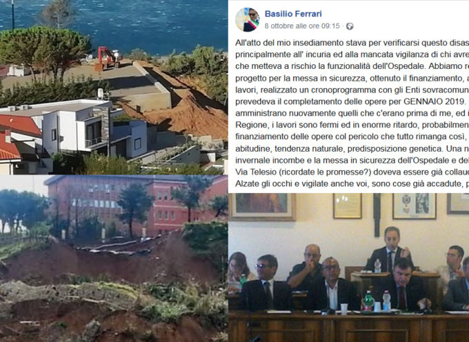 Frana Ospedale Paola: Basilio Ferrari attacca e dal S. Agostino si risponde