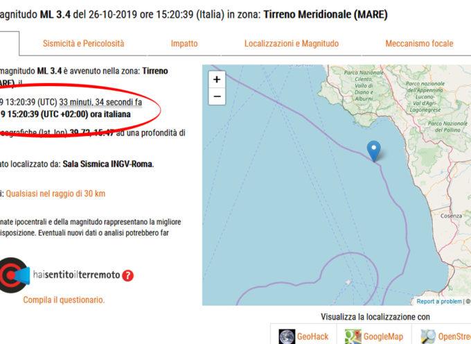 Trema ancora la terra sotto tirreno cosentino: sisma 3.4, stessa zona di ieri