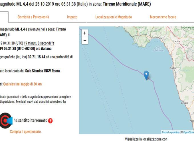 Ore 6.31 – Terremoto magnitudo 4.4 a 11Km di profondità. Trema la costa